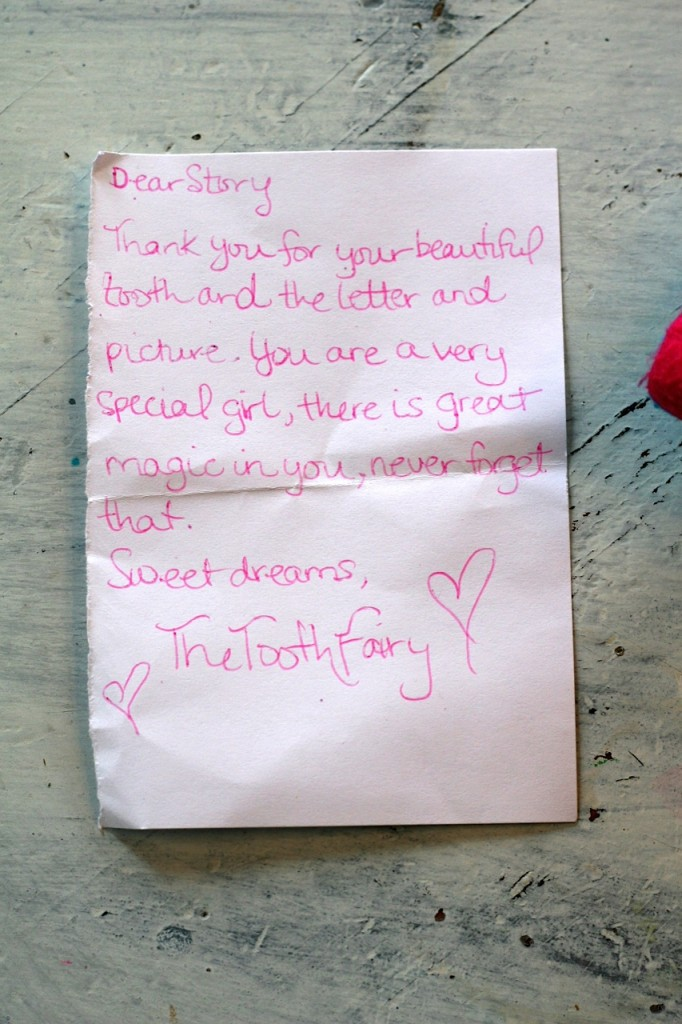 Story's letter from the tooth fairy