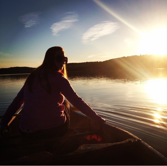 My first canoe ride at sunset.