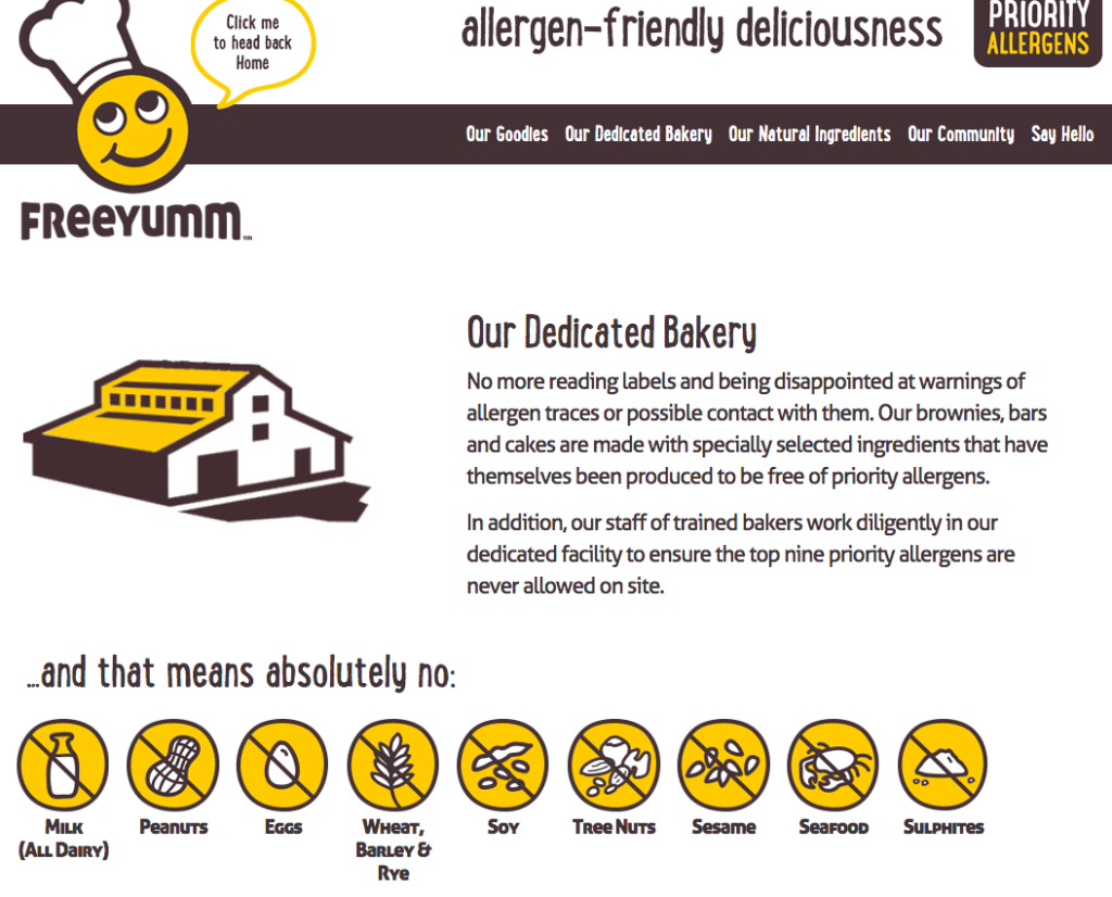 FreeYumm's dedicated bakery is free of the top 8 allergens, how awesome is that?