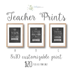 Win a gorgeous, customized teacher print from Inkpen Studios in the Ultimate Teacher Gift Guide Giveaway from IDontBlog.ca!