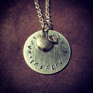Win this beautiful, handstamped necklace, personalized however you want, from Stamped Memories by Amanda in the Ultimate Teacher Gift Guide Giveaway at IDontBlog.ca!