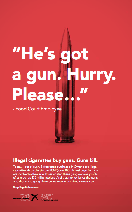 Learn more about how the #StopIllegalTobacco campaign wants to keep guns off our streets at IDontBlog.ca.