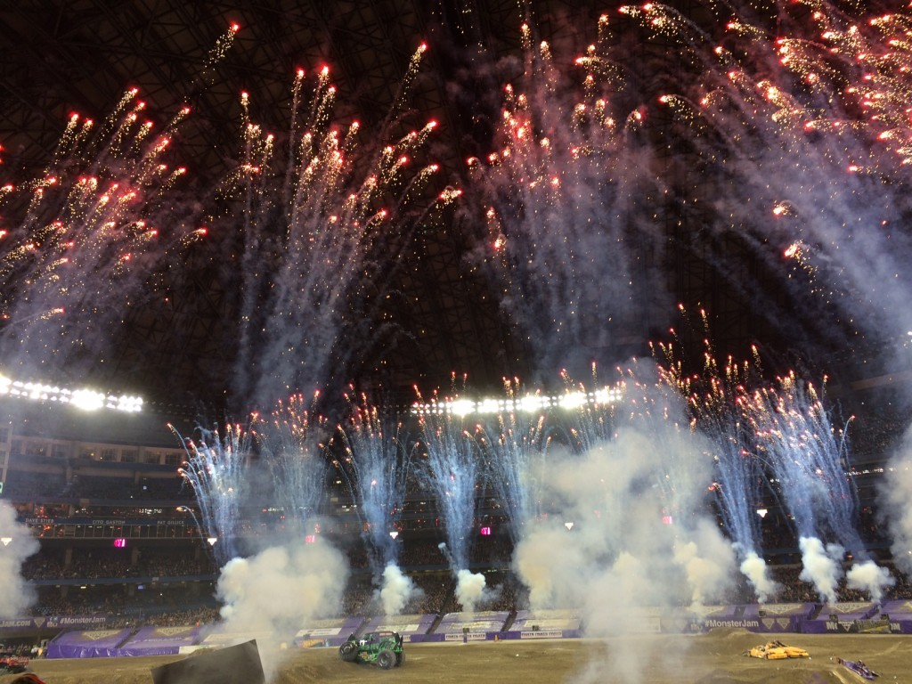 The whole crowd gets into the Monster Jam spectacle
