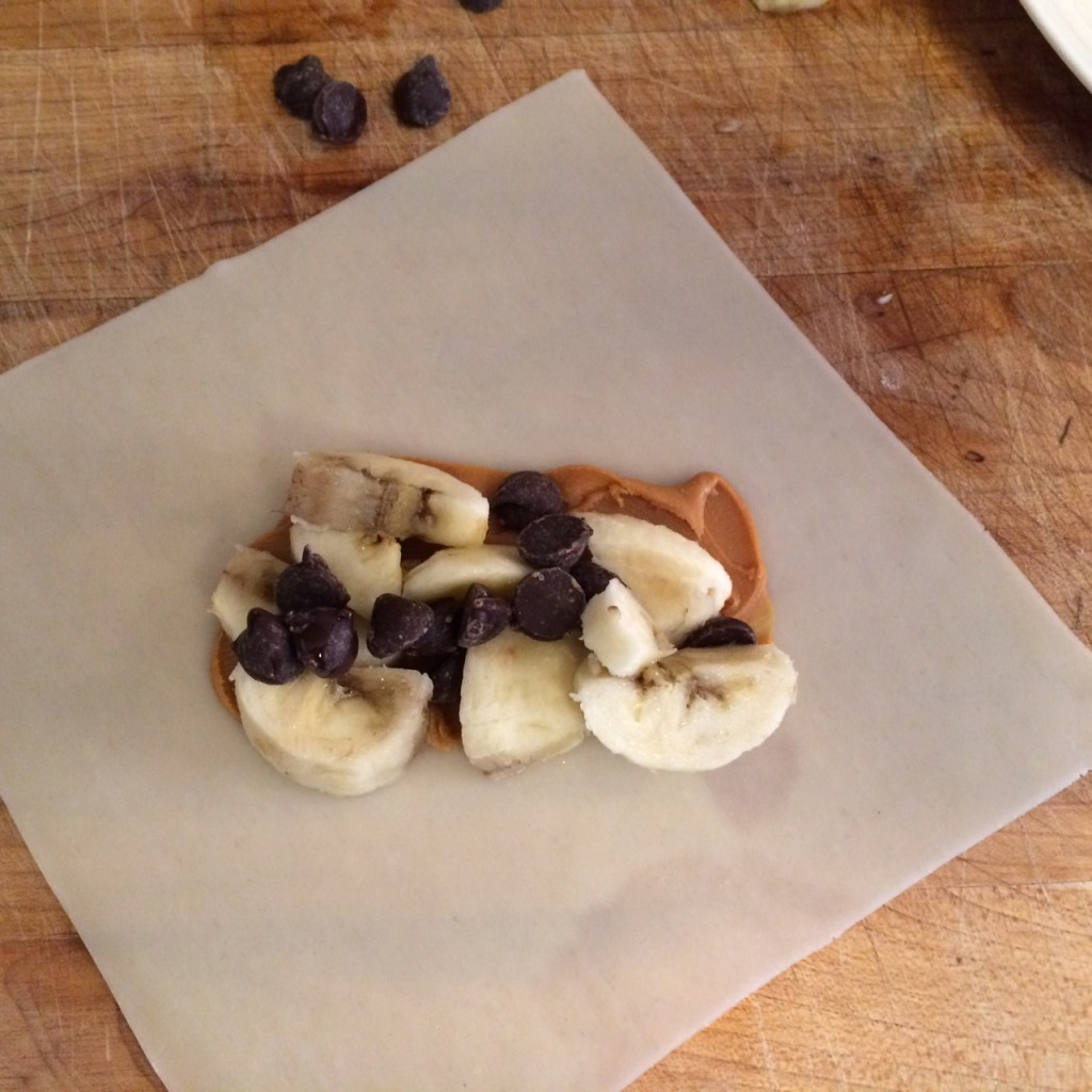 Fill egg roll wrappers with banana, WOW Butter and chocolate chips -- YUM!