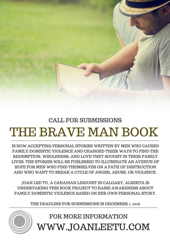 #ShowMeYourBrave - The Brave Man Book is seeking personal stories of men who have been violent, but changed their ways