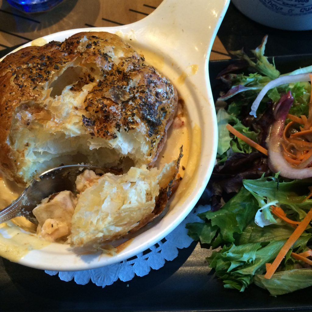 Famous Seafood Potpie at Cochon Dingue was uninspiring
